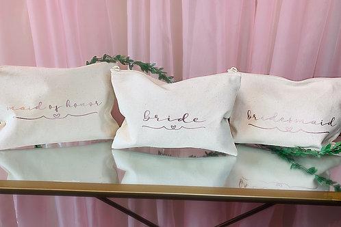 Bridal canvas makeup bag