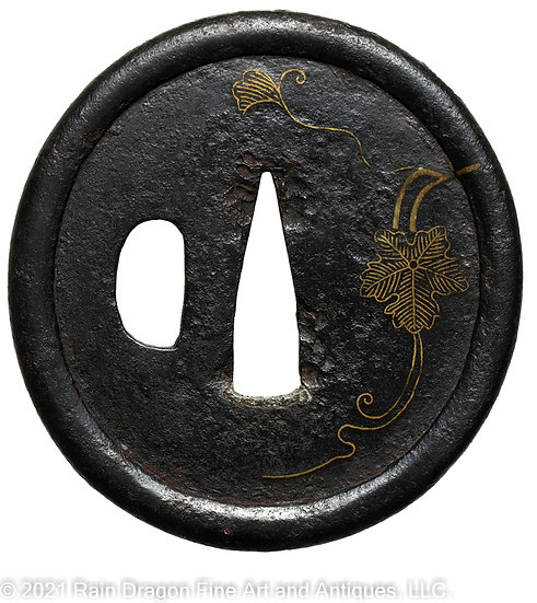 Sword Handguard (Tsuba) with Brass Inlays
