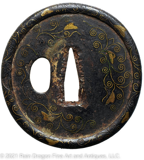 Iron Sword Handguard (Tsuba) with Brass Inlays
