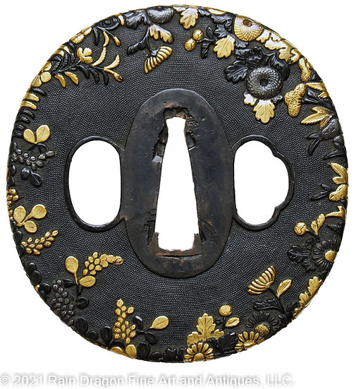 Sword Handguard (Tsuba) with Autumn Flowers and Grapes