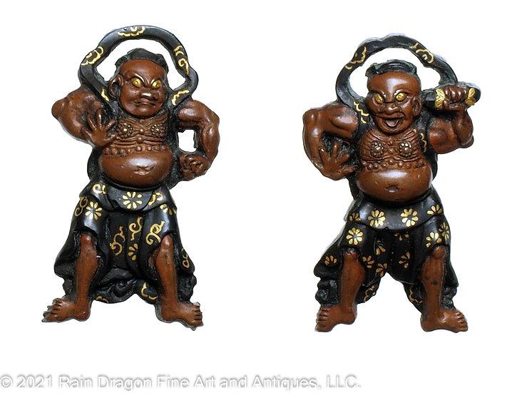 Japanese Sword Handle Ornaments (menuki) of Buddhist Temple Guardians