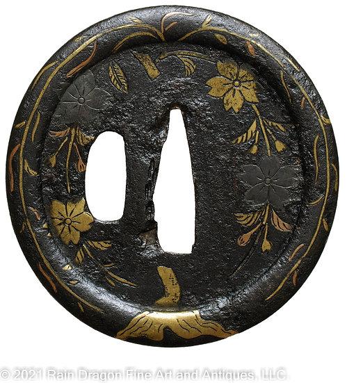 Sword Handguard (Tsuba) with Silver and Brass Inlays