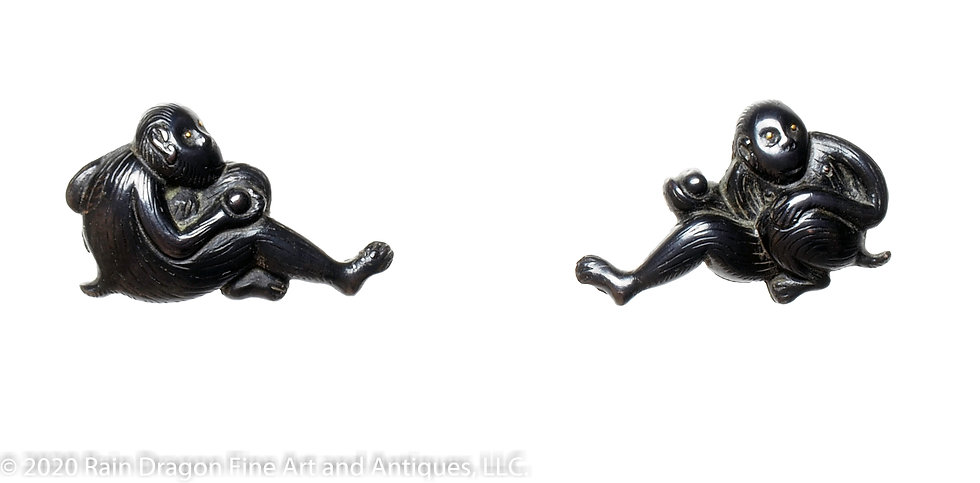 Japanese Sword Handle Ornaments (menuki) of Monkey