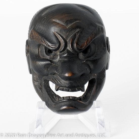 Large Boxwood Mask Netsuke