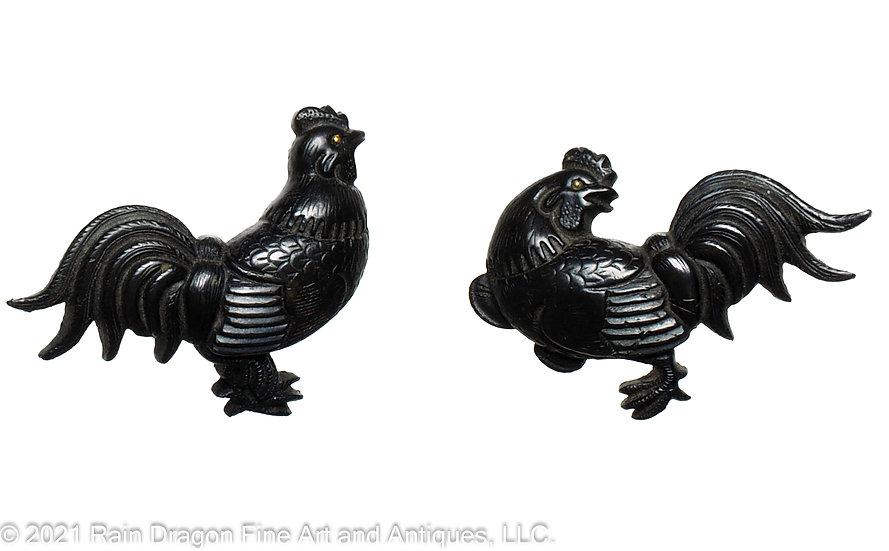Japanese Sword Handle Ornaments (menuki) of Roosters