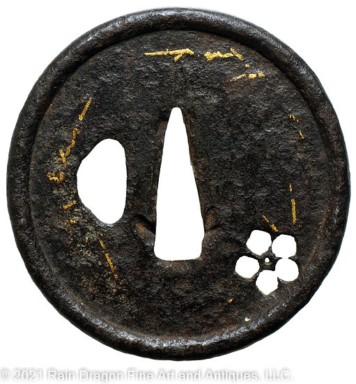 Sword Handguard (Tsuba) with Gold Inlays