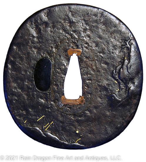Iron Handguard (Tsuba) with Gold Inlays