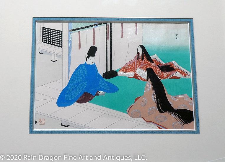 Modern Woodblock Print of The Tale of Genji