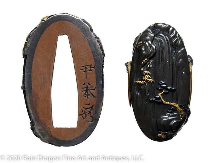 Sword Handle Cap Set (Fuchi-Gashira) of Chinese Poet Rihaku
