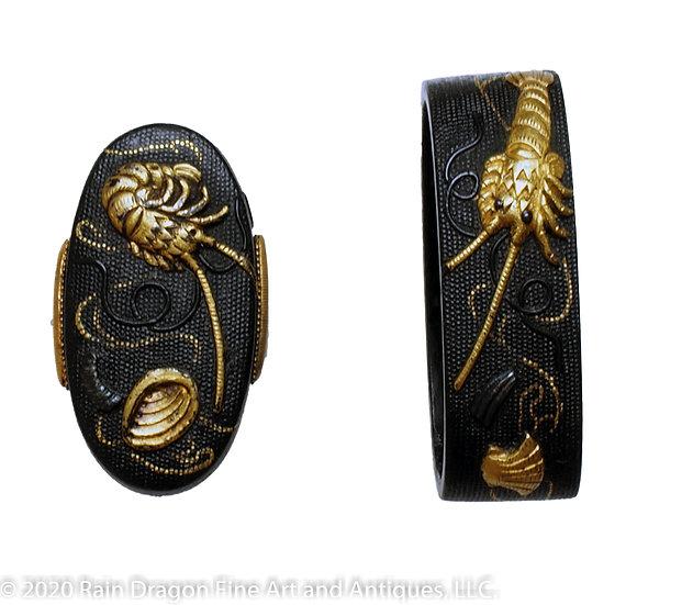 Sword Handle Cap Set (Fuchi-Gashira) of Lobster and Clams