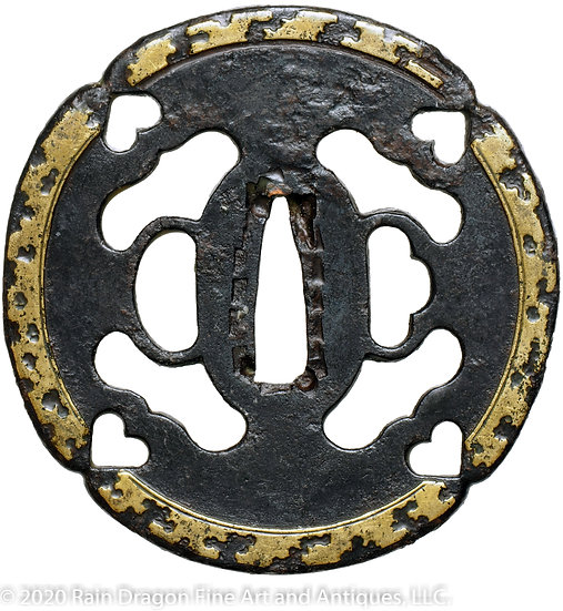 Iron Sword Handguard (Tsuba) with Openwork (Sukashi) and Brass Inlays
