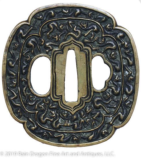 Antique Brass Handguard (Tsuba)