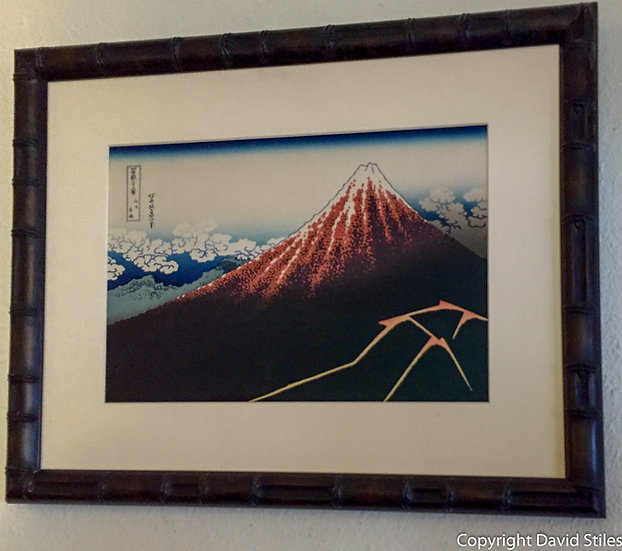 Modern Woodblock of Mt. Fuji in Custom Frame