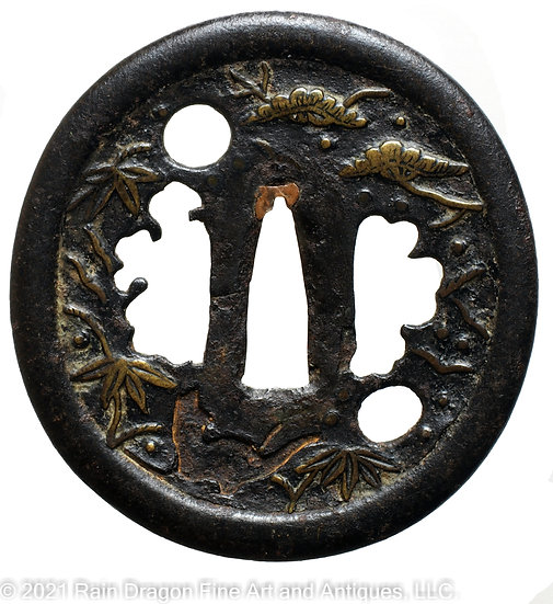Sword Handguard (Tsuba) with Openwork (Sukashi) and Brass Inlays