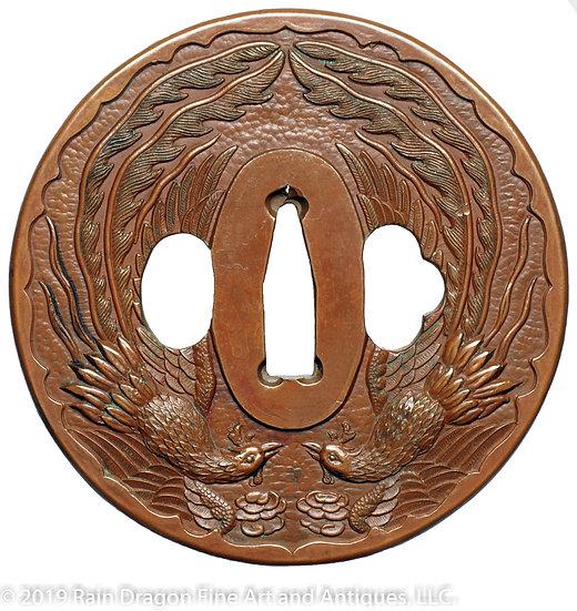 Copper Sword Handguard (Tsuba) with Twin Designs of a Dragon and Phoenix