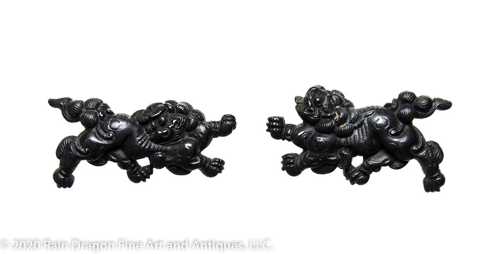 Japanese Sword Handle Ornaments (menuki) of Loin Dogs