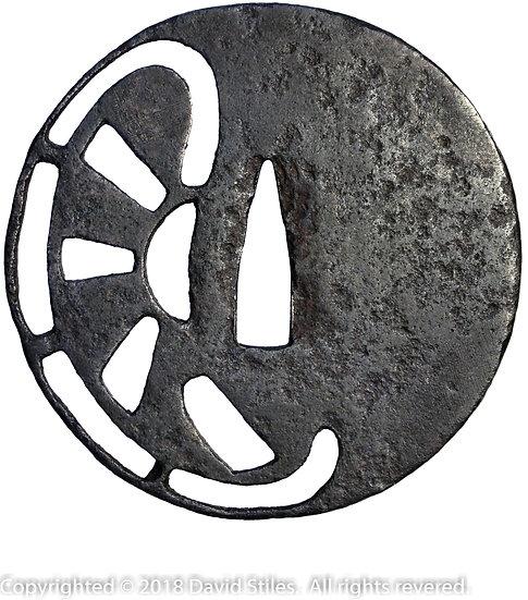 Iron Sword Handguard (Tsuba) with Openwork (Sukashi)