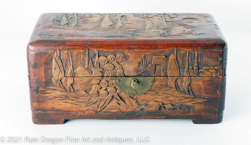 Carved Wooden Storage Box