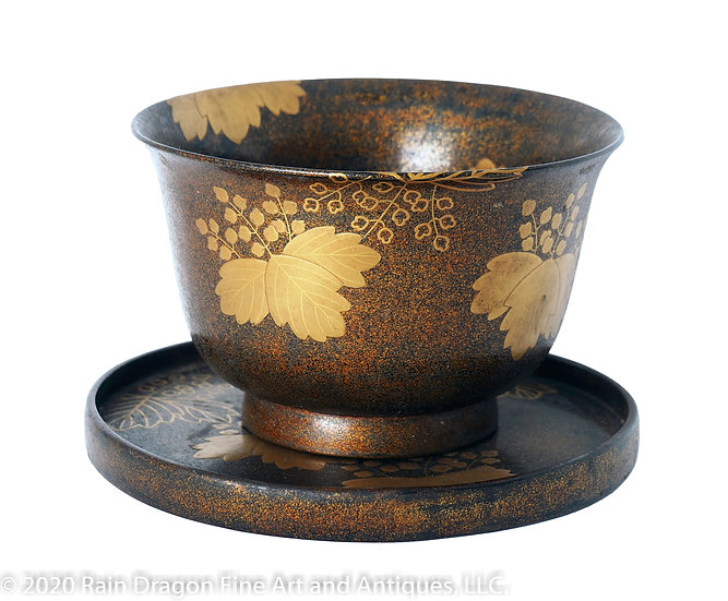 Large Gold Lacquer Cup and Stand