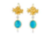 Flower Bud Cluster Drop Earrings with Op