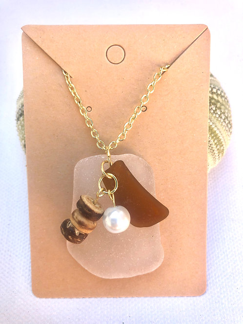 White and Gold Sea Glass Necklace