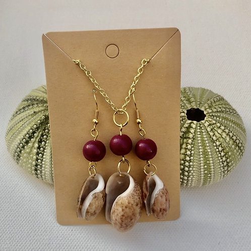 Bubble Shell Earrings and Necklace