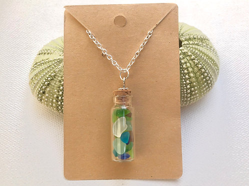 Sea Glass in a Bottle Necklace