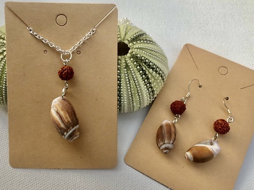 California Shell Necklace and Earrings