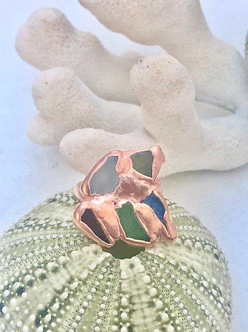 Multi-Color Electroformed Sea Glass Ring