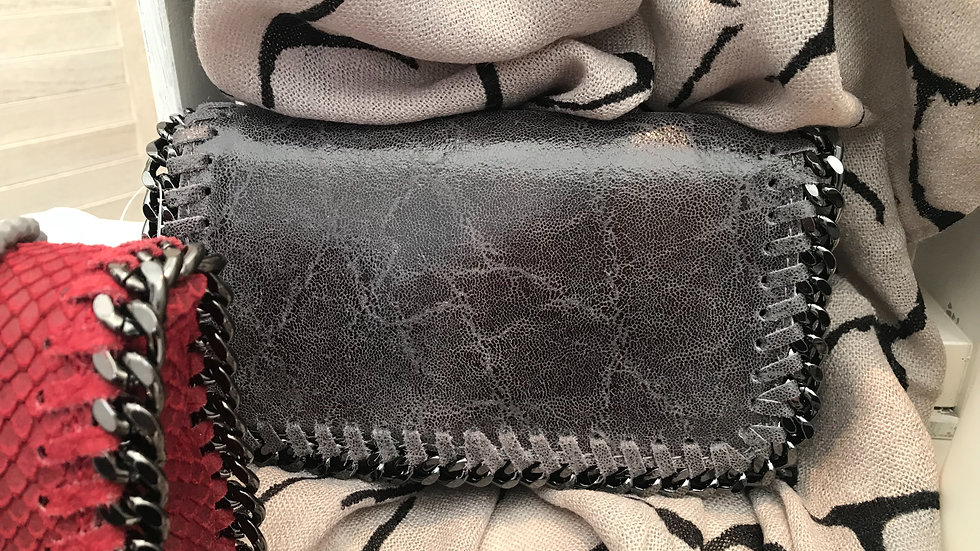 Real Leather Dark Grey Stella McCartney Style Chain Clutch Bag