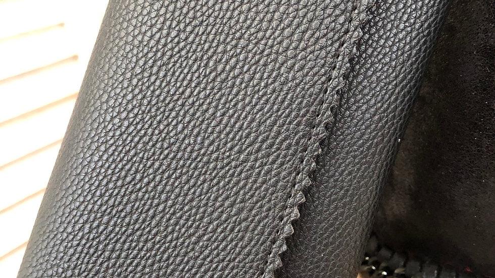 Black Crinkle Detail Fold Over Purse