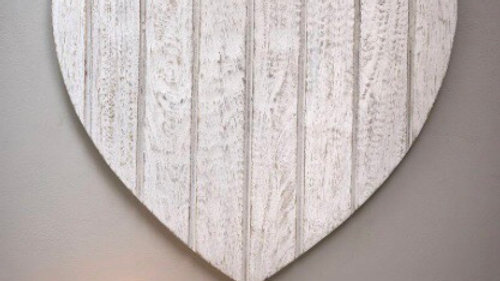 "White 20"" Wooden Wall Heart"