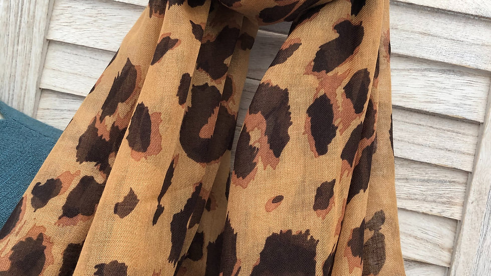 Tan Leopard Print Super Soft Scarf