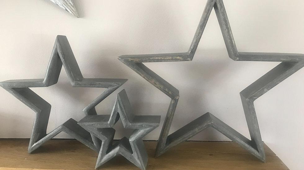 Grey Shabby Chic Set of 3 Mantelpiece Stars