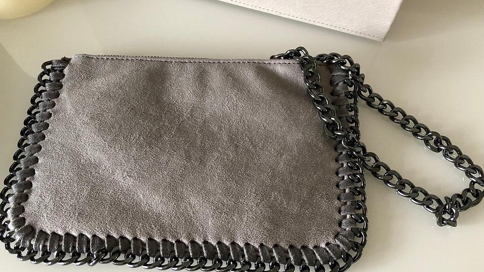 Grey Clutch Purse with Wrist Chain