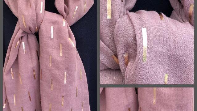Dusky Pink & Rose Gold Sticks Scarf