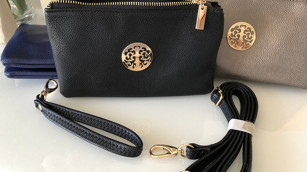 Small Black Clutch with Detachable Straps