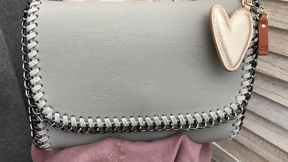 Light Grey Chain Style Crossbody Bag