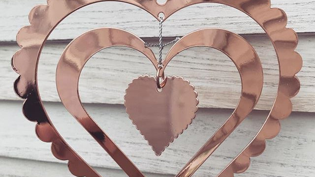 Rose Gold Layered Hanging Heart