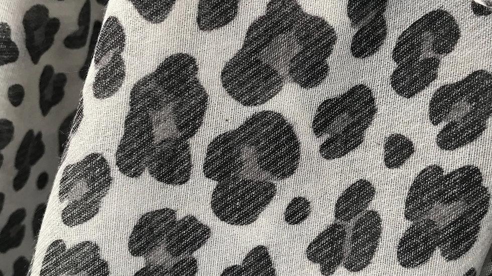 Grey Leopard Print Super Soft Scarf