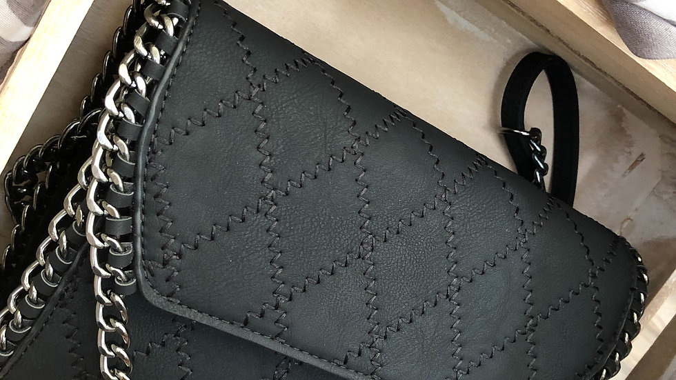 Black Quilted Sturdy Clutch Bag