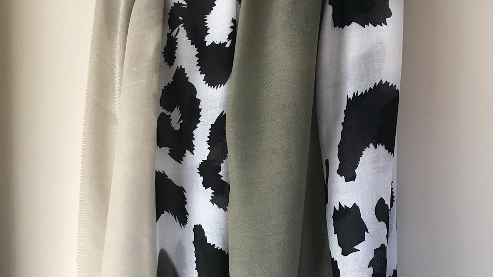 Khaki Large Leopard Print Super Soft Scarf