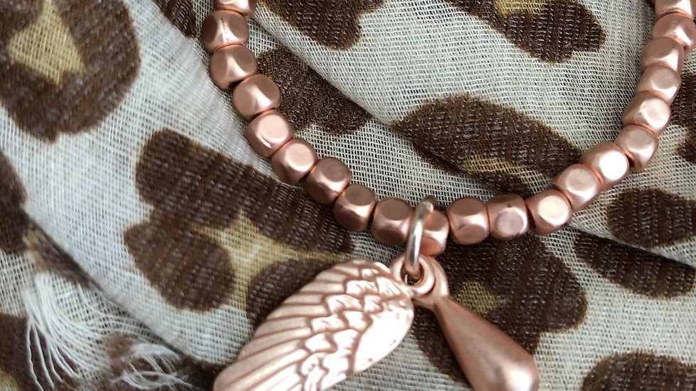 Matt Rose Gold Stretch Bead Bracelet With Wing & Droplet