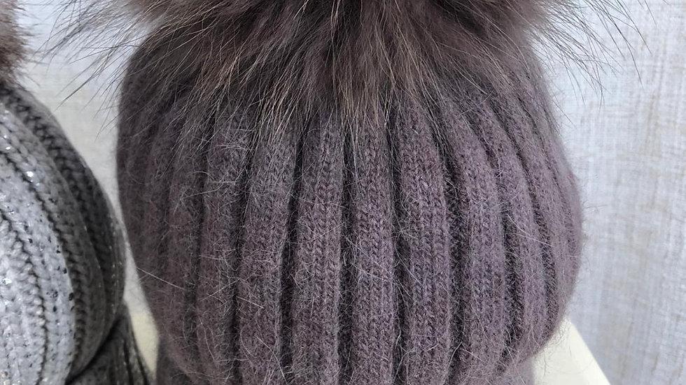 Mink Pom Pom Hat