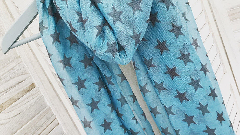 Turquoise Simple Star Scarf