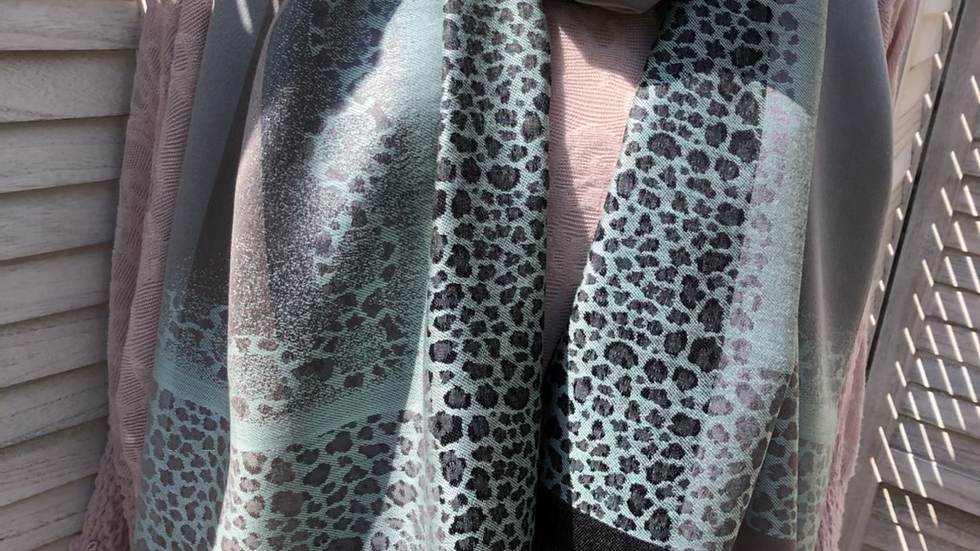 Duck Egg Patterned Soft Sheen Pashmina