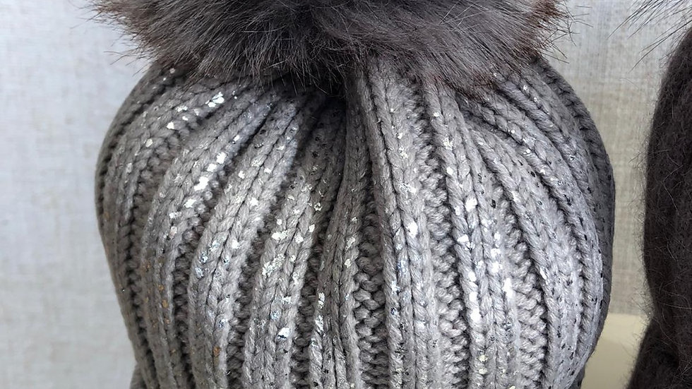 Silver Sparkly Pom Pom Hat