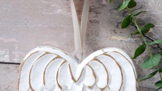 White Shabby Chic Hanging Angel Wings