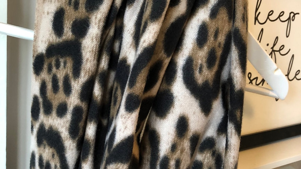 Brushed Cotton Cream Leopard Print Scarf