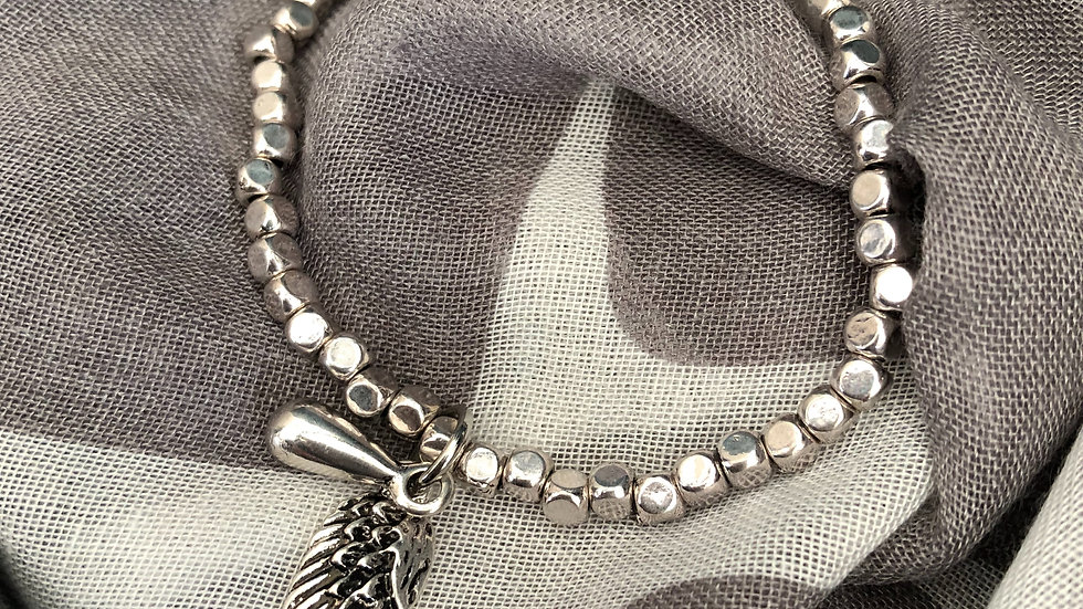 Silver Beaded Stretch Bracelet With Wing & Droplet